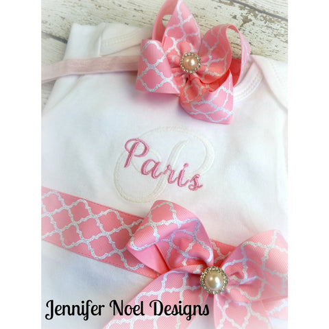 Personalized Newborn girl coming home  Outfit,  Girls take home Hospital Outfit,  baby layette gown, Newborn Headband, Pink Quatrefoil - Jennifer Noel Designs