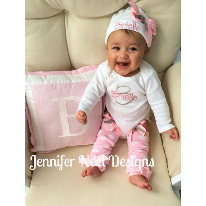 Newborn girl take home outfit, Personalized baby girl coming home Oufit, baby layette gown leg warmers & Hat Set, Girls Take Home Outfit - Jennifer Noel Designs