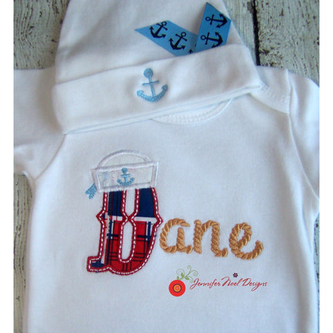 Jennifer Noel Designs JenniferNoelDesigns.com Take Home Outfit sailor baby personalized boys monogrammed baby infant gown infant cap home from hospital going home outfit coming home outfit Clothing Children boys monogrammed boys layette gown boys coming home boy take home baby cap Baby