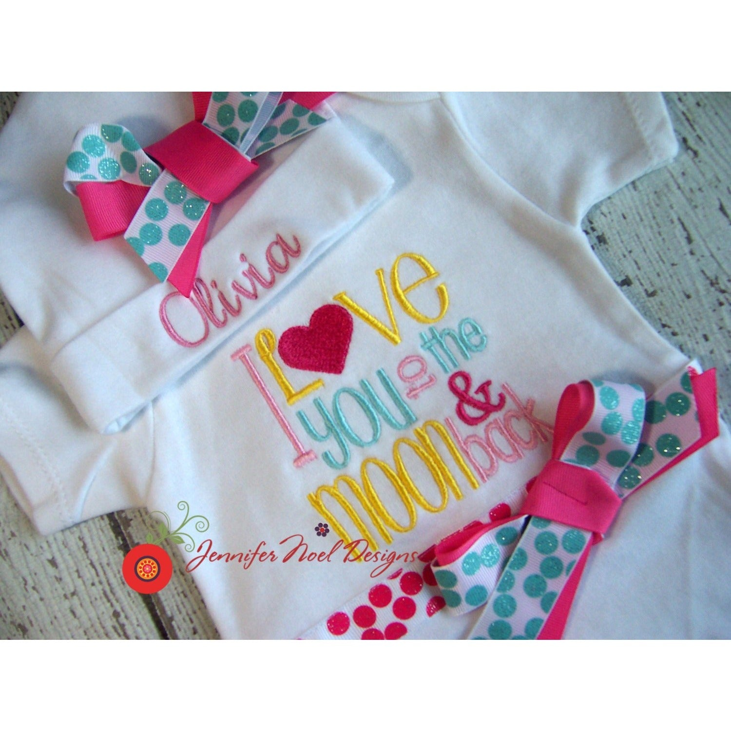 Newborn girl take home outfit, Personalized baby girl coming home Oufit, baby layette gown, and hat Set, She is Fiercebaby gift - Jennifer Noel Designs