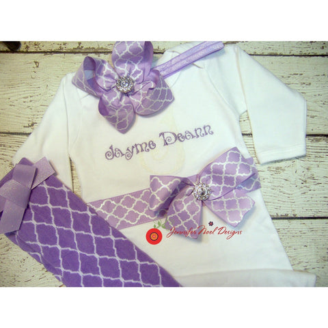 Jennifer Noel Designs JenniferNoelDesigns.com personalized girls take home outfit personalized baby onepiece bodysuit newborn girl newborn bow monogrammed baby lavender gown girl take home coming home outfit Clothing Children baby name gown baby layette gown baby girls layette baby gifts Baby