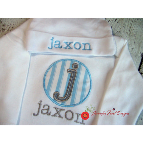 Jennifer Noel Designs Take Home Outfit Personalized Boys Personalized Hat newborn onepiece Monogrammed Baby Infant Gown Home From Hospital Going Home Outfit Coming Home Outfit Clothing Children Boys Monogrammed Boys Layette Gown Boys Coming Home blue grey bodysuit Baby