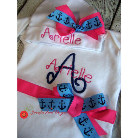 Jennifer Noel Designs JenniferNoelDesigns.com take home outfit personalized baby personalized hat onepiece bodysuit newborn girl monogrammed baby monogram anchor baby girl take home coming home outfit Clothing Children baby name gown baby layette gown baby girls layette baby gifts Baby