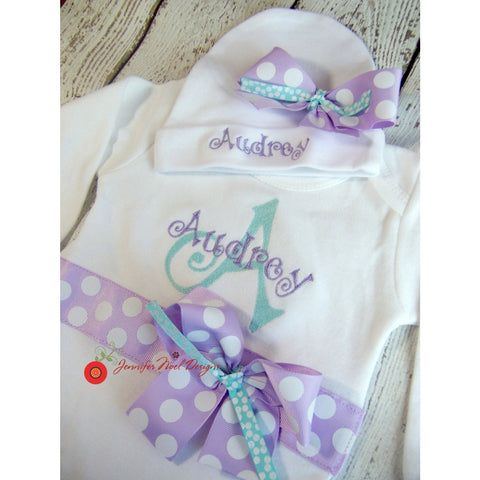 Personalized Take Home Outfit, Girls coming  Home From Hospital Outfit,  Newborn girl  Clothes, lavender aqua, newborn props, monogrammed - Jennifer Noel Designs