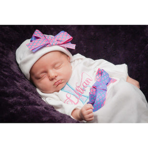 Personalized Newborn girl take home outfit - Jennifer Noel Designs
