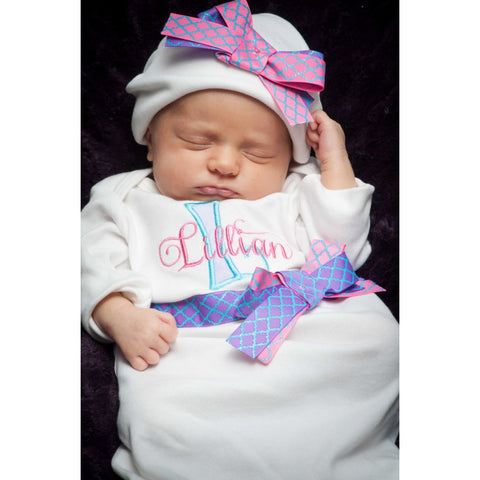 Jennifer Noel Designs take home outfit personalized girls newborn layette monogrammed gift monogrammed baby infant gown fall girls monogrammed girls coming home embroidered babyones embroidered baby gif coming home outfit Clothing Children baby gown winter baby girls layette Baby