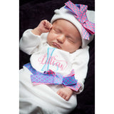 Personalized Coming Home Oufit, Take  Home From Hospital Outfit,  Layette Gown,  and Hat Set, Girls Take Home outfitbaby gift - Jennifer Noel Designs