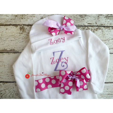 Jennifer Noel Designs JenniferNoelDesigns.com personalized girls take home outfit personalized baby onepiece bodysuit newborn hospital set newborn girl monogrammed baby little sister outfit girl take home coming home outfit Clothing Children baby name gown baby layette gown baby girls layette baby gifts Baby