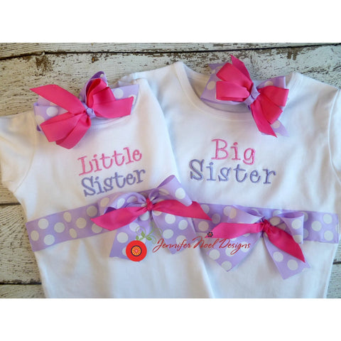 New Baby and Big Sister Shirt Set with Bows, pink and lavender - Jennifer Noel Designs
