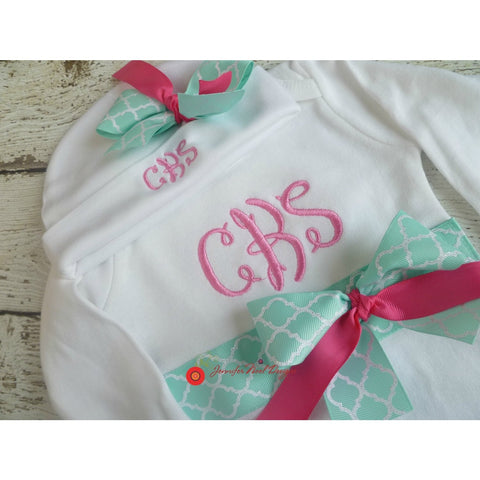 JenniferNoelDesigns.com Jennifer Noel Designs take home outfit personalized baby newborn girl monogrammed baby little sister outfit girl take home coming home outfit Clothing Children baby name gown baby layette gown baby girls layette baby girl take home baby gifts Baby