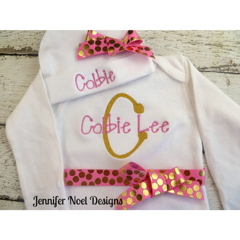 JenniferNoelDesigns.com Jennifer Noel Designs take home outfit pink gold personalized baby onepiece bodysuit newborn girl monogrammed baby hospital beanie hat girl take home girl name gown coming home outfit Clothing Children baby name gown baby layette gown baby gifts Baby