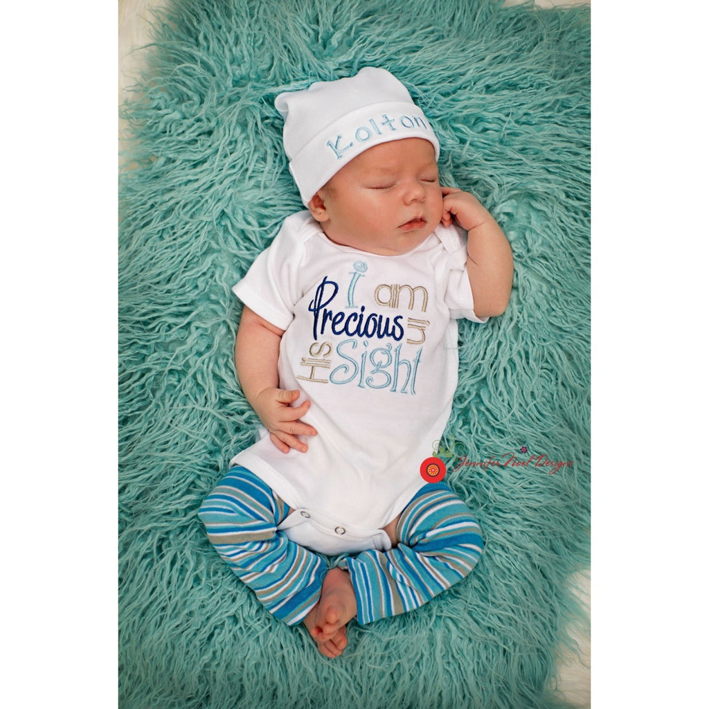 Newborn boys outfit, Precious in His sight onepiece bodysuit - Jennifer Noel Designs