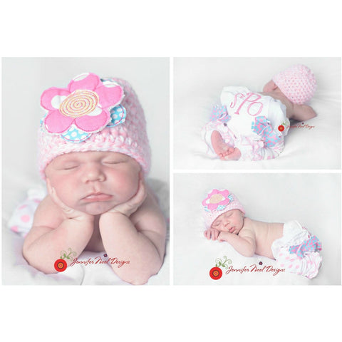 Personalized Newborn Girls Photo Prop First Pictures set with hat, legwarmers and Bloomers in pinks and aquababy gift - Jennifer Noel Designs