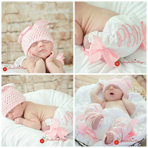 Personalized Newborn Girls Photo Prop First Pictures set with hat, legwarmers and Bloomers in pinks and Satinbaby gift - Jennifer Noel Designs