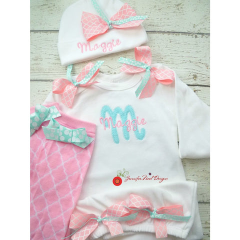 Jennifer Noel Designs JenniferNoelDesigns.com personalized girls take home outfit pink aqua teal pink aqua quatrefoil personalized baby onepiece bodysuit newborn girl monogrammed baby girl take home coming home outfit Clothing Children baby name gown baby layette gown baby girls layette baby gifts Baby