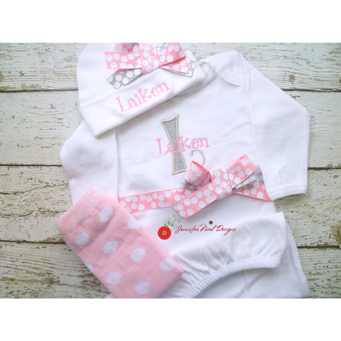 Jennifer Noel Designs JenniferNoelDesigns.com newborn photo prop take home outfit pink grey polka personalized girls personalized baby onepiece bodysuit newborn girl monogrammed baby little sister outfit girl take home coming home outfit Clothing Children baby name gown baby layette gown baby girls layette baby gifts Baby