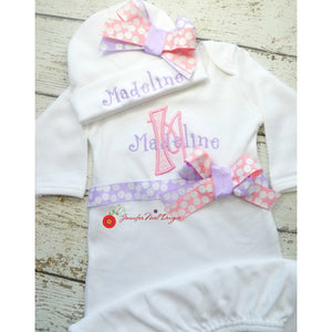 Newborn girl take home outfit, Personalized Girls Coming Home Outfit, pink and lavender, Layette Gown, or onepiece bodysuit and Hat Set - Jennifer Noel Designs