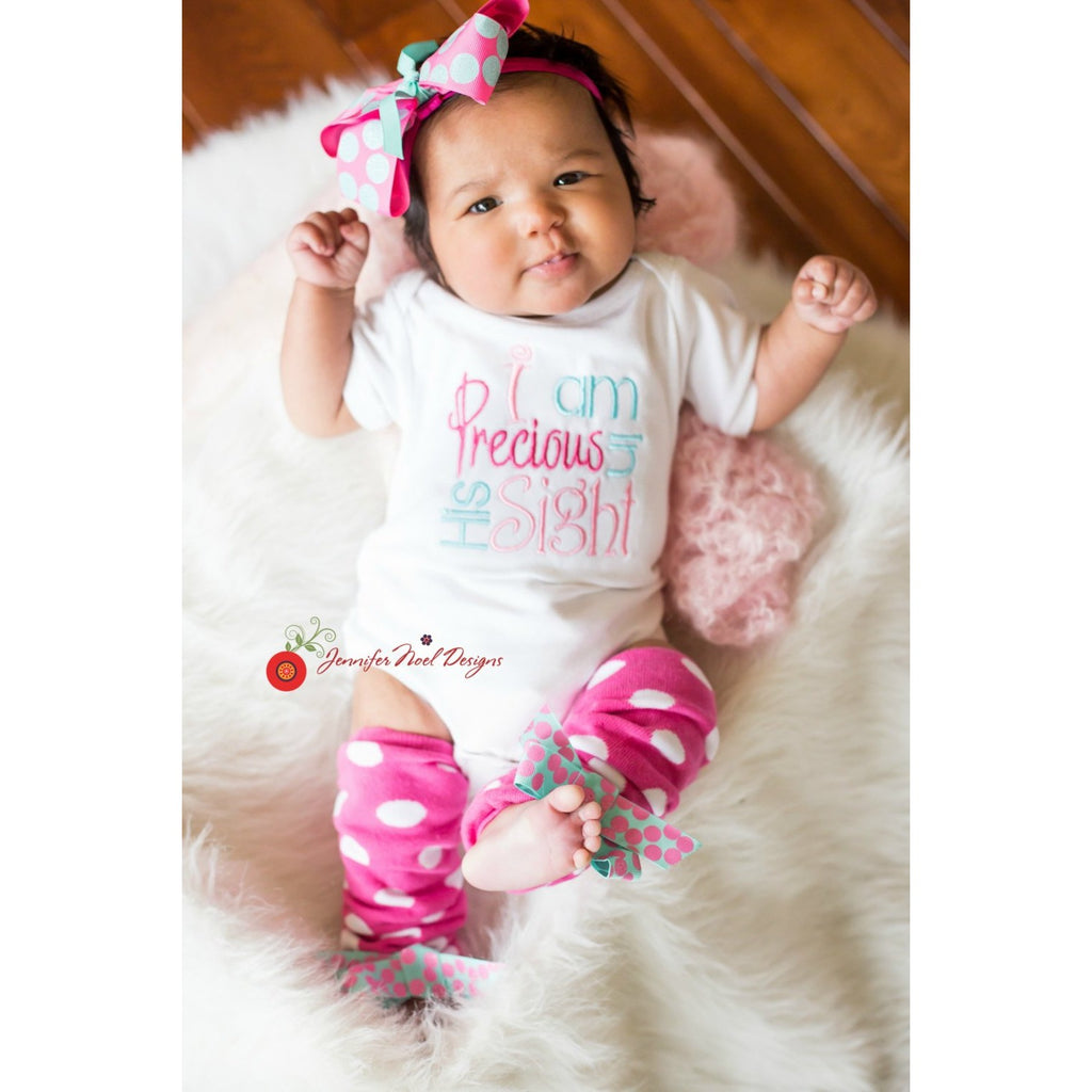 Newborn Girl Take home outfit, Pink and aqua take home outfit, I am precious in his sight, Newborn gown, Christian baby gift, shower gift - Jennifer Noel Designs