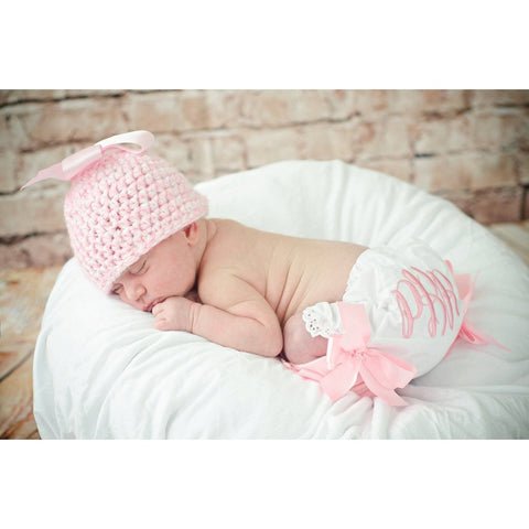 Personalized Newborn Girls bloomer, leg warmer and hat set,  Photo Prop set, Monogrammed embroidered bloomers, hand crocheted hat with bows - Jennifer Noel Designs