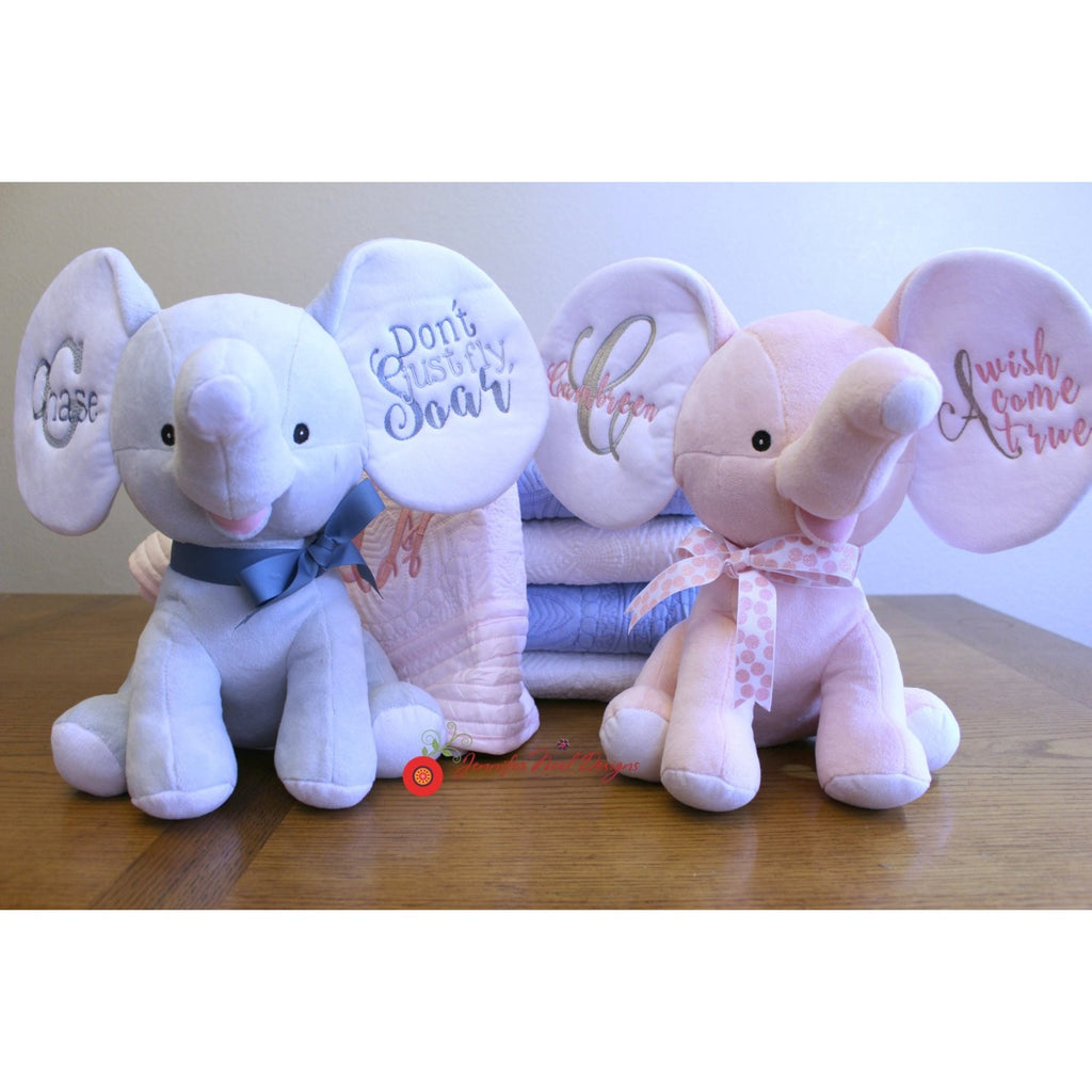 Personalized Elephant Keepsake stuffed animal Plushie, Personalized baby toy, - Jennifer Noel Designs