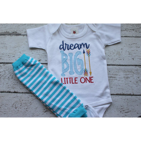 Jennifer Noel Designs JenniferNoelDesigns.com Take Home Outfit photo prop newborn boy gift newborn boy clothes new parent gift new baby boy clothes home outfit Gender Reveal Dream Big Little One Clothing Children Boys Take home Boys shirts Boys coming Blue and Turquoise Baby Shower Gift Baby