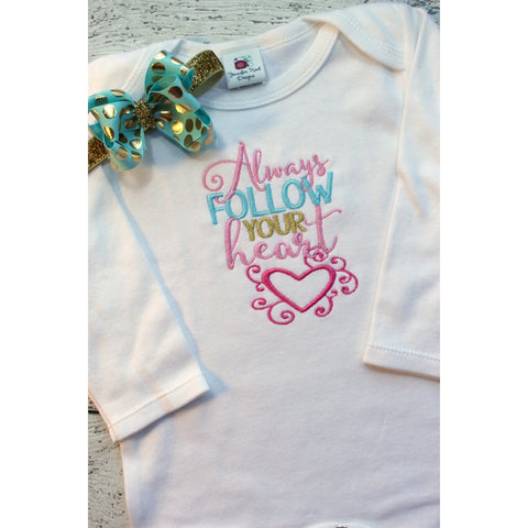 Follow your heart, Baby Girl Outfit with Bows - Jennifer Noel Designs