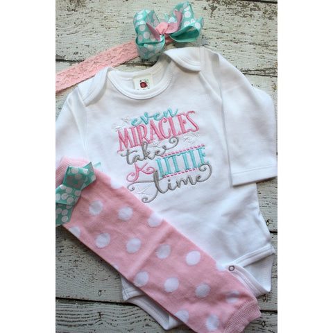 Take home outfit for girls,  newborn clothing set, Baby shower gift, Miracles Take Time bodysuit, legwarmers and newborn headband, pink aqua - Jennifer Noel Designs
