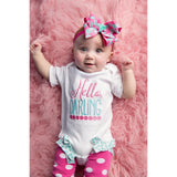 Take Home outfit for girls, newborn gown or hospital outfit, newborn photo props, baby girl clothes, Hello baby bodysuit, newborn set - Jennifer Noel Designs