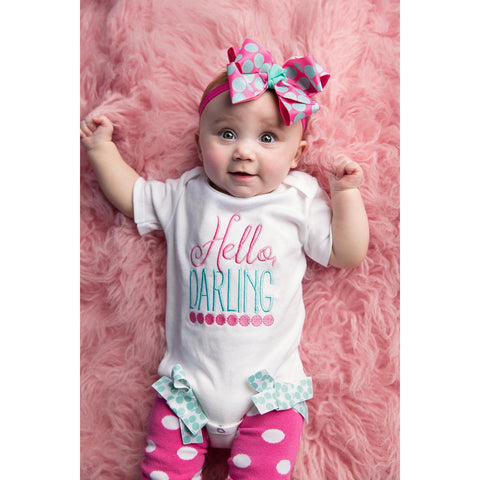 Take Home outfit for girls,  girls baby shower gift,  Hello baby gown, baby bodysuit, newborn photo prop, New baby girl gift set, hello baby - Jennifer Noel Designs