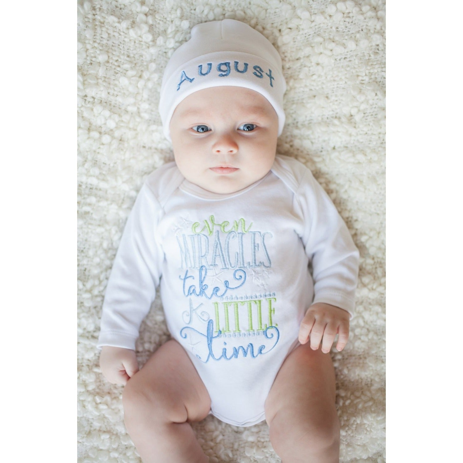 Newborn take home outfit for boys, Baby Boy Bodysuit, coming home outfit, Baby shower gift, Miracles Take Time bodysuit, hospital hat - Jennifer Noel Designs
