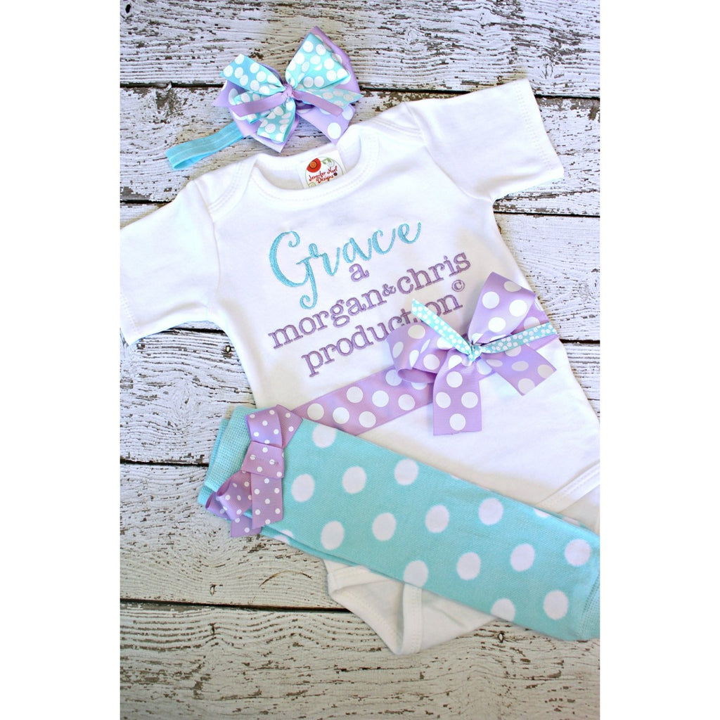 Personalized take home outfit for girls, baby name gown., parents name production - Jennifer Noel Designs