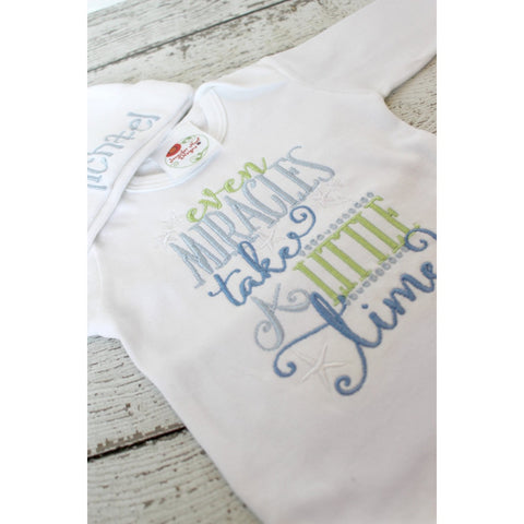 JenniferNoelDesigns.com take home outfit photo shoot newborn photo set Newborn Boy miracles take time infant gown bodysuit coming home outfit Children boys bodysuit boy shower gift boy coming home Bodysuit baby shower gift baby layette gown baby gifts Baby
