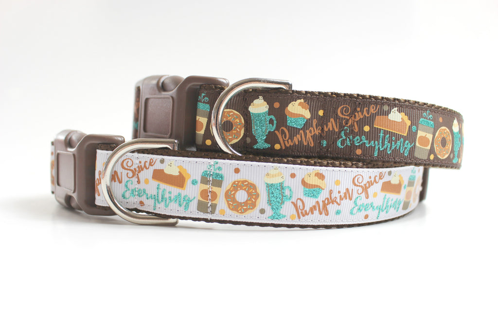 Designer Dog Collar, Pumpkin Spice Everything, Affordable Dog Accessories - Jennifer Noel Designs