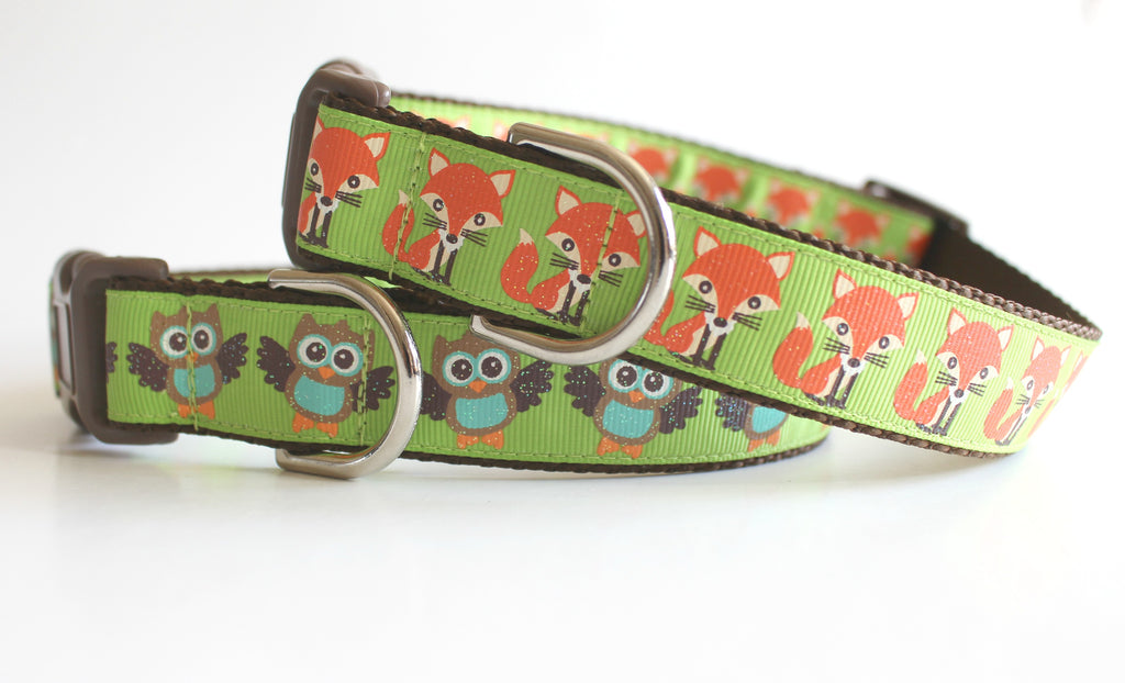 Woodland Creatures Designer Dog Collar, Affordable Dog Accessories - Jennifer Noel Designs