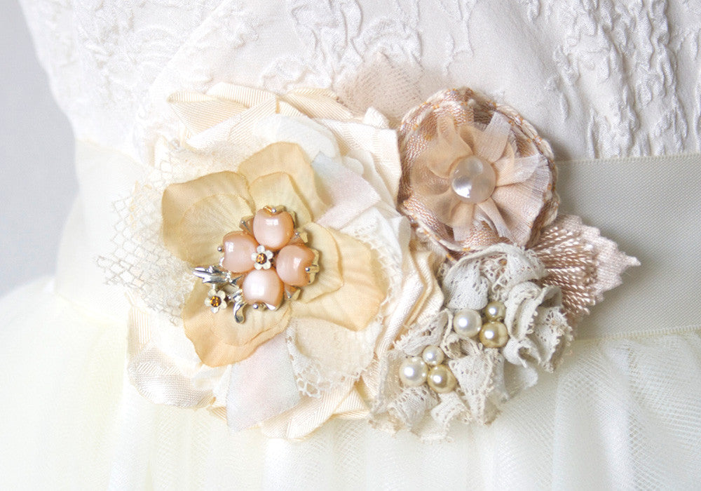 floral wedding dress belt