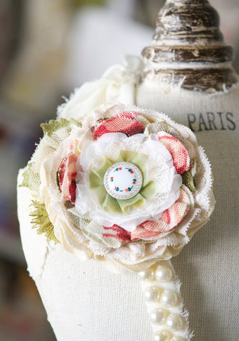 Floral Corsage Pin - Pink, Red and Green Blossom