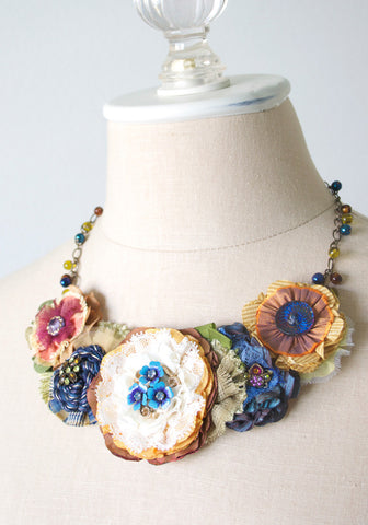 Colorful Fabric Flower Bib Necklace