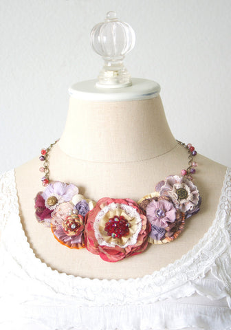 Floral Statement Necklace - Rosy Red and Lavender Fabric Blossoms