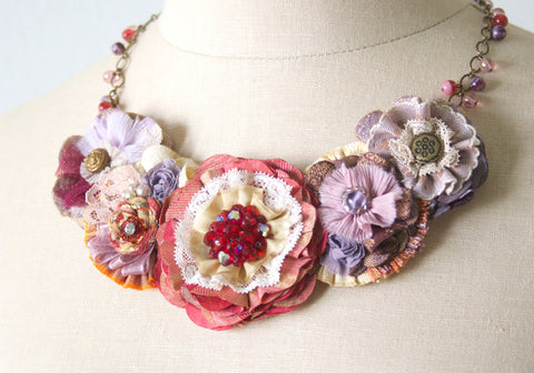 Fabric Flower Statement Necklace - Red and Lavender