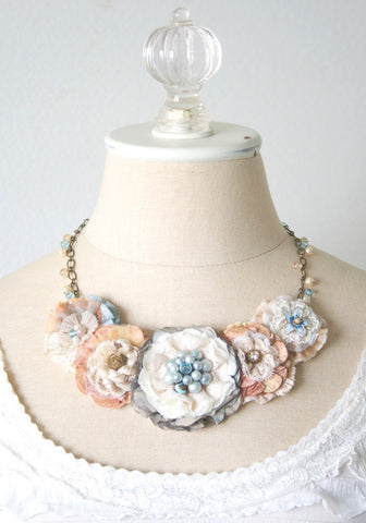 Bridal Statement Necklace - Beach Wedding Accessory in Ocean Blue and Coral Peach