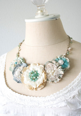 Beach Wedding Jewelry - Bride Statement Necklace with Aqua Blue and Ivory Blossoms