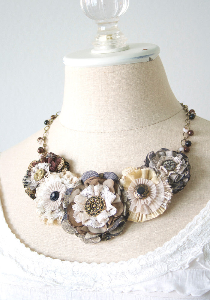 flower necklace in earthtone fabrics