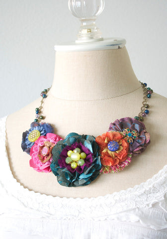 Colorful Floral Bib Necklace