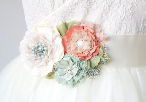 Bridal Sash Belt - Mint, Peach and Coral Blossoms