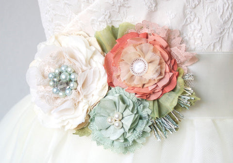 Bridal sash belt with mint, coral and peach flowers