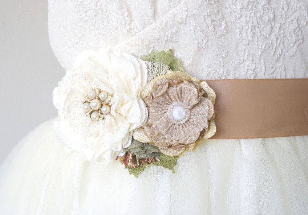 rustic wedding dress flower sash