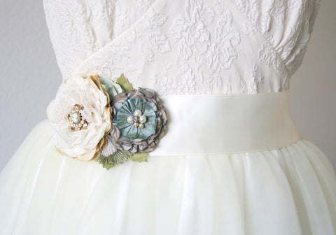 Wedding Sash Flowers, Teal Blue and Ivory