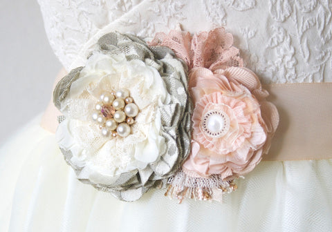 Bridal Sash - Pink and Grey Blossoms