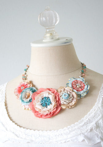 Floral Statement Necklace - Coral, Turquoise and Peach Blossoms