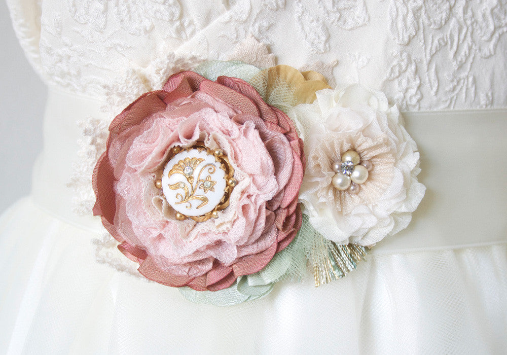 floral bridal sash pink and ivory